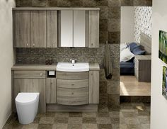 Bardolino Oak Fitted Bathroom Furniture - Enjoy the tranquillity of a spacious, uncluttered bathroom by combining a range of door and drawer units for storage options - great for a family bathroom! Bathroom Vanity Units, Bathroom Photos, Dream Bathrooms, Bathroom Ideas, Fitted Bathrooms, Timeless Bathroom, Modern Bathroom, Small Bathroom, Loft Bathroom