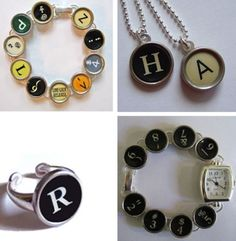 typewriter key jewelry...would also work with scrabble tiles