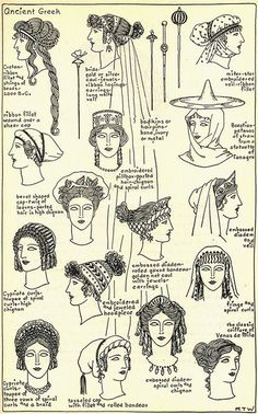 Women's hairstyles and accessories throughout ancient Greek history.