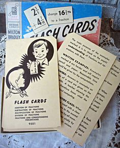 Vintage math flash cards fractions and by LittleBeachDesigns, $14.00