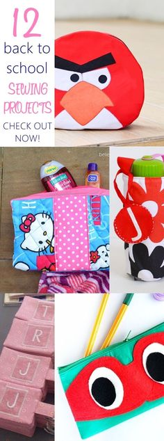 Such awesome back to school sewing ideas! I& drooling on ALL of them and my most favorite one is the angry bird bag with FREE SEWING PATTERN Sewing Lessons, Sewing Hacks, Sewing Tutorials, Sewing Ideas, Sewing Tips, Sewing Patterns Free, Free Sewing, Free Pattern, Sewing School