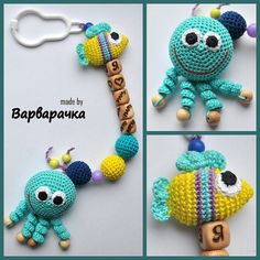 soother clip with amigurumi octopus and the by ForYourHappyBaby