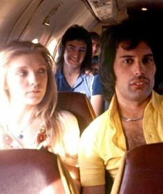 Brian May releases never-before-seen pictures of Queen's Freddie Mercury Freddie Mercury, Mary Austin and John Deacon travelling with Queen: picture from Brian May's book of photographs, taken while on tour Queen Freddie Mercury, Mary Austin Freddie Mercury, John Deacon, Brian May, Freddie Mecury, Queen Guitarist, Roger Taylor, Queen Photos, Queen Images