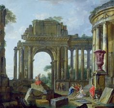 Roman Ruins with the Blind Belisarius - Giovanni Paolo Pannini or Panini - Leeds Art Gallery Prints
