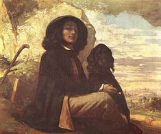 Self-Portrait with a Black Dog, 1841, Gustave Courbet