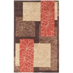 Surya COS8889-23 Cosmopolitan 2' x 3' Rectangle Synthetic Hand Tufted Floral Are - Orange