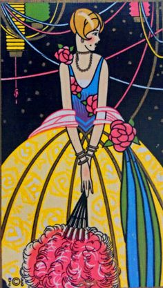 Don't know if this is a bridge tally or a swap card??  But she's a beautiful deco lady.