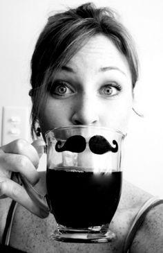 Mustache mug! (Love the clear mug with the black