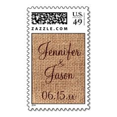 Rustic Country Burlap Print Wedding Postage Stamps