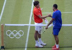 Tsonga (right) and Raonic played out the longest tennis match in Olympic history London Summer Olympics, Zara Phillips, Tennis Match, Live, Day, Etiquette, Shake, History, Historia