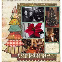 Christmas scrapbook layout...do the tree in different shades of green on a red background