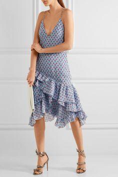 Altuzarra - Corona Ruffled Printed Silk Dress - Sky blue - FR40