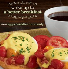 Petit déjeuner des champions! Come in and start your day with our New Eggs Benedict Normandy. #laMadeleine