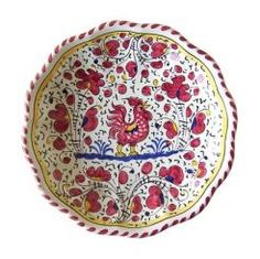"""BACCELLATO: GALLO ROSSO: 10"""" (25cm) Diameter.    The Gallo (Rooster) pattern is a relatively new design from the 19th century: initially it was painted only in green. Based on 13th & 14th century green & white designs, Ceramicists modernized the vegetal motifs & added the rooster.     Today Sabbia Talenti offers the Gallo dinnerware pattern in Red, Blue as well as the traditional Green. Sabbia Talenti recommends mixing the colors for the most effect.    This Piece is hand painted in #Deruta."""