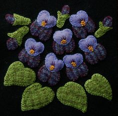 """Wool applique BOM PATTERN &/or KIT """"Violets"""" 6x6 block 1 of 24 """"Four Seasons of Flowers"""" folk art quilt wall hanging bed runner felted wool"""