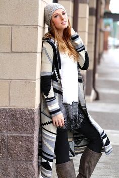 Wrap Me Up Long Aztec Hooded Cardigan (Taupe)