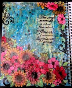 "Mixed Media Art Journal Page - ""Happiness"""