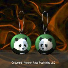 "Panda Bear Button Earrings Mother of Pearl Wildlife Jewelry ""Handmade"" #Handmade"
