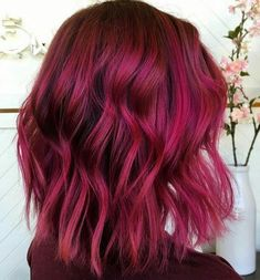 43 Short Hairstyles You'll Be Obsessed With Deep pink dimension by Courtney Taylor Magenta Hair Colors, Pink Ombre Hair, Vivid Hair Color, Dark Pink Hair, Wedding Hair Inspiration, Coloured Hair, Hair Highlights, Gorgeous Hair, Hair Trends