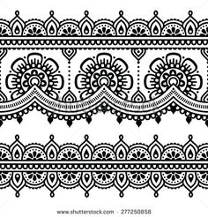 Mehndi, Indian Henna tattoo seamless pattern by RedKoala #India #background
