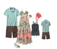 Family picture color ideas, would rather the dress be a top and jeans but I like the colors.