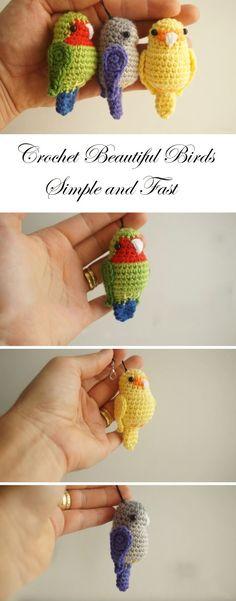 Crochet Amigurumi Ideas Cute Birds Crochet Tutorial and Pattern Crochet Simple, Cute Crochet, Crochet Crafts, Crochet Dolls, Yarn Crafts, Crochet Projects, Knit Crochet, Crochet Baby, Beautiful Crochet