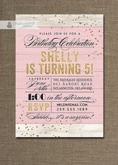 Pink Gold Glitter Birthday Invitation Rustic by digibuddhaPaperie, $23.00