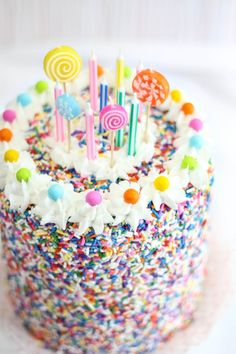 Rice Krispie Treat Sprinkle Cake takes birthdays to a whole other level