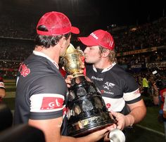 The fantastic du Plessis brothers with the SA Rugby Currie Cup - what a great moment - Go Sharks . South African Rugby, Sharks, Athletes, Reebok, Brother, Southern, In This Moment, Shark