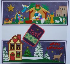 Christmas Premade Scrapbook Page Border for 12x12 Scrapbook  SOLD