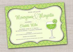 Monograms and Margaritas Printable Card - Wedding Bridal Shower Tea Luncheon