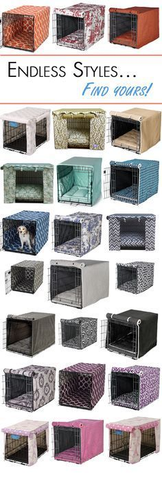 Add some color to your dog's wire crate with a designer crate cover! Jiff Pom, Puppy Crate, Cat Crate, Crate Bed, Wire Crate, Dog Crate Cover, Dog Kennel Cover, Dog Rooms, Dog Houses