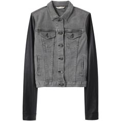 Rag & Bone Jean Jean Jacket with Leather Sleeves ($347) ❤ liked on Polyvore featuring outerwear, jackets, coats, coats & jackets, cropped jacket, slim jacket, distressed denim jacket, long jean jacket and denim jacket