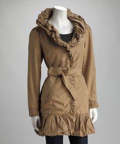 dark khaki flounce ruffle coat,  by: Chilly Classics: Women's Outerwear