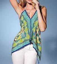 Victoria's Secret Scarf-Print Handkerchief Cami Top Green Floral Print XS/S