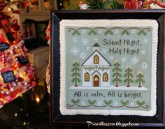 Priscillas: Christmas Stitching.... a sweater sleeve is used to back the stitchery!
