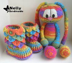 Nelly Handmade: Пинетки и зайчик в комплекте