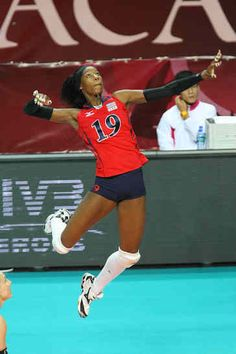 Destinee Hooker - this is what I imagine the perfect Volleyball player's stance would be