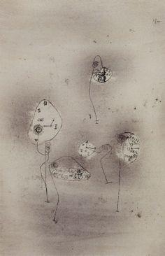 Paul Klee, uhrpflanzen, 1924, oil-transfer and water colour on paper and board, 46x30.5cm, musees royaux des beaux-arts de belgique, brussels