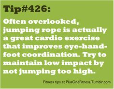 Jump Roping Tip: Jump Roping = Great Cardio workout...watch high impact of your jumps