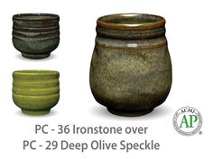 Deep Olive Speckle is a rich, translucent, glossy green glaze with darker green speckles. Looks great when layered with our other Potter's Choice glazes.