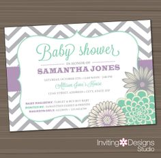 Baby Shower Invitation, Neutral, Girl, Mint Green, Aqua, Lavender, Purple, Gray, Grey, Chevron, Customize Your Colors (PRINTABLE FILE)