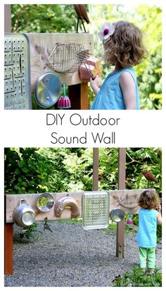 Backyard Design: DIY Outdoor Sound Wall/Music Station from Fun at Home with Kids #outdoordiy