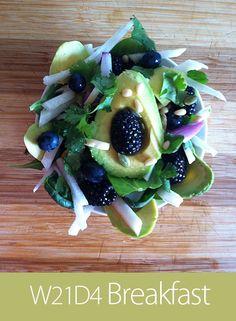 June 30th 2013 - W21D5 Breakfast - Spinach, turkey, jicama, avocado, blackberries, blueberries, pistachios, pine nuts, almonds, pumpkin seeds.