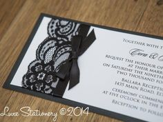 Simple #lace and ribbon #wedding #invitations - Find more like this at www.myweddingconcierge.com.au