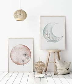 Sun and Moon Print Set of Watercolor Art Print, Dandelion Wall Art, Botanical Art Print, Pastel Printable Wall Art, Hand Drawn Art Home Decor Wall Art, Diy Wall Art, Dandelion Wall Art, Moon Print, Neutral Art, Japanese Embroidery, Flower Embroidery, Embroidered Flowers, Embroidery Stitches
