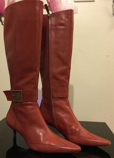 "GIVENCHY Knee-High Red Leather Boots Sz 8 Side Zipper  2"" Heels Stunning Rare #GIVENCHY #KneeHighBoots #Formal"