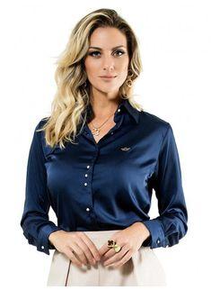 80532643a camisa cetim social marinho principessa jussara Blusas Para Trabalhar