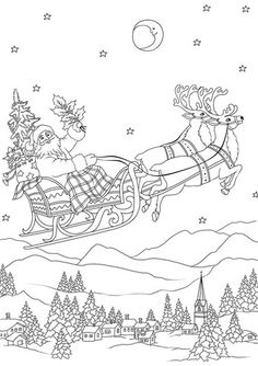 santa flying in his sleigh pulled by reindeers at night coloring page from santa claus category select from 27968 printable crafts of cartoons nature