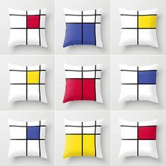 mondrian cushions cushion cover geometric cushion by GorgeousGD Piet Mondrian, Cushion Covers, Pillow Covers, Deco Furniture, Deco Design, Fabric Painting, Soft Furnishings, Bauhaus, Decoration